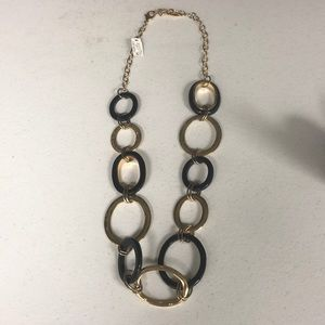 NWT Chico's Black and Gold Link Necklace
